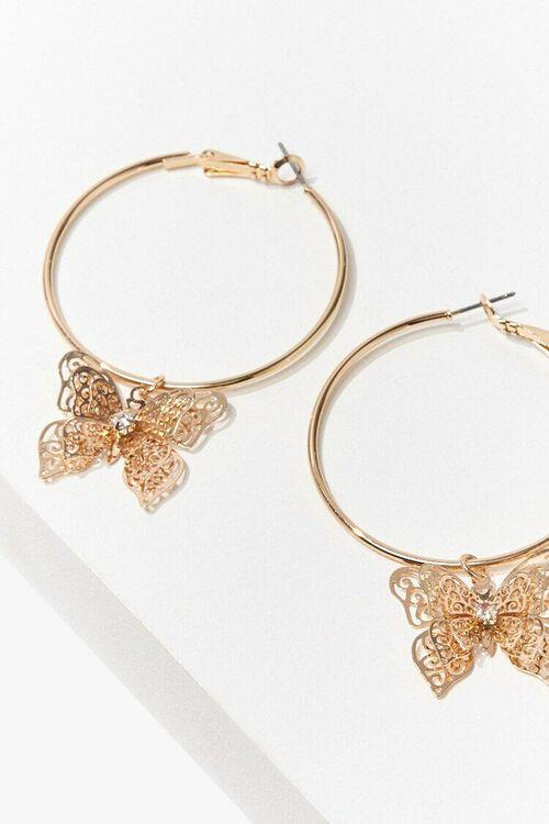 GOLD Butterfly Hoop Earrings, image 3