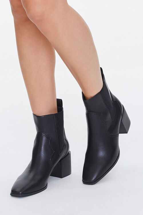 Faux Leather Square Toe Booties, image 1