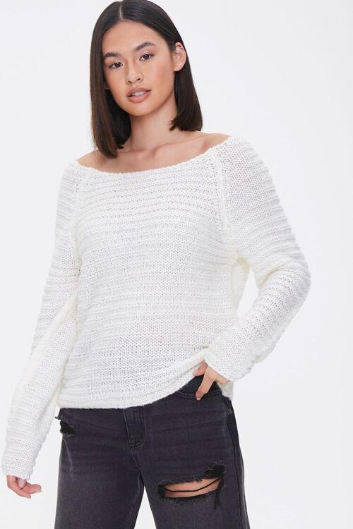 Open-Knit Boat Neck Sweater, image 1