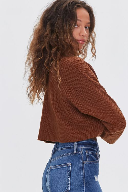 BROWN Ribbed Cropped Cardigan Sweater, image 2