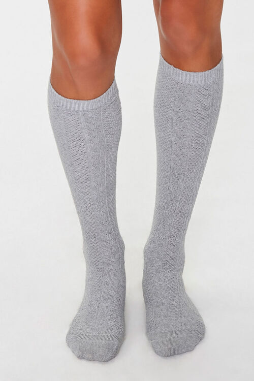 Cable Knit Knee-High Socks, image 2