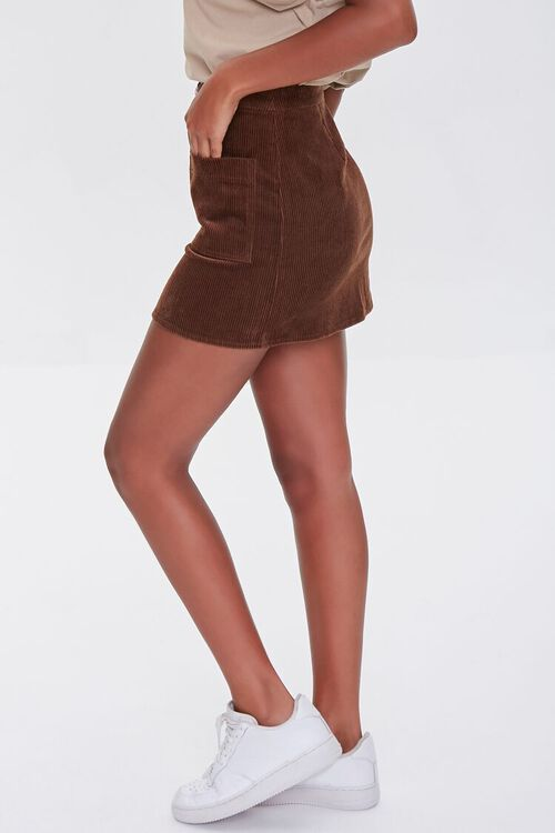 BROWN Corduroy Zip-Front Mini Skirt, image 3