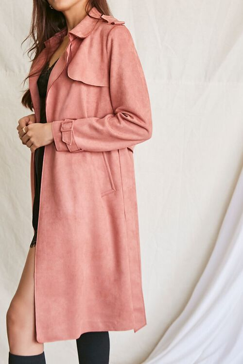 ROSE Faux Suede Duster Trench Jacket, image 2