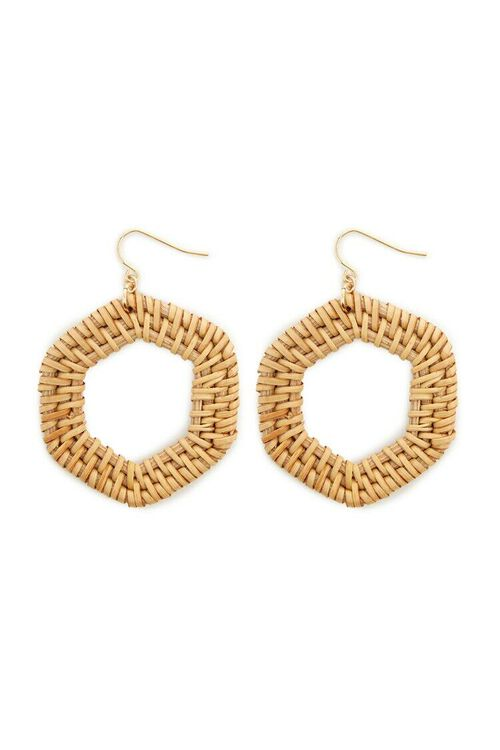 Geo Wicker Hoop Drop Earrings, image 2