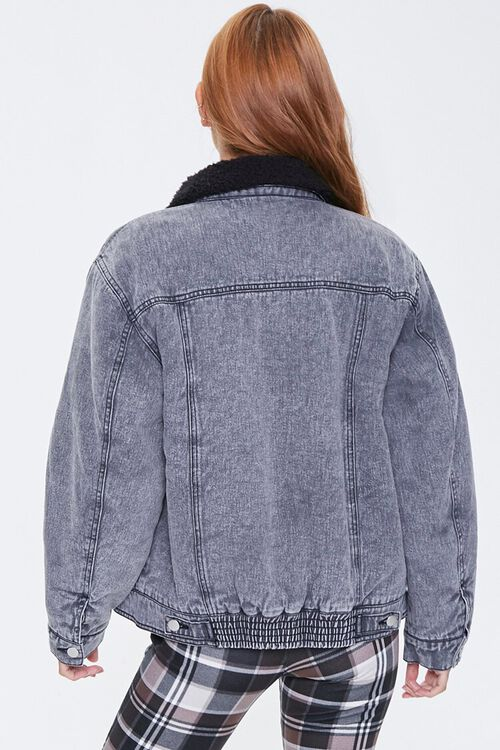 Faux Shearling-Collar Denim Jacket, image 3