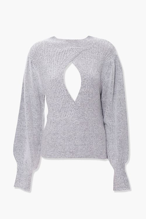Ribbed Surplice Cutout Sweater, image 1