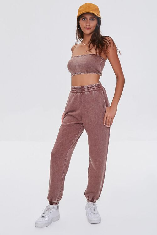 BROWN Oil Wash Cropped Tube Top, image 4