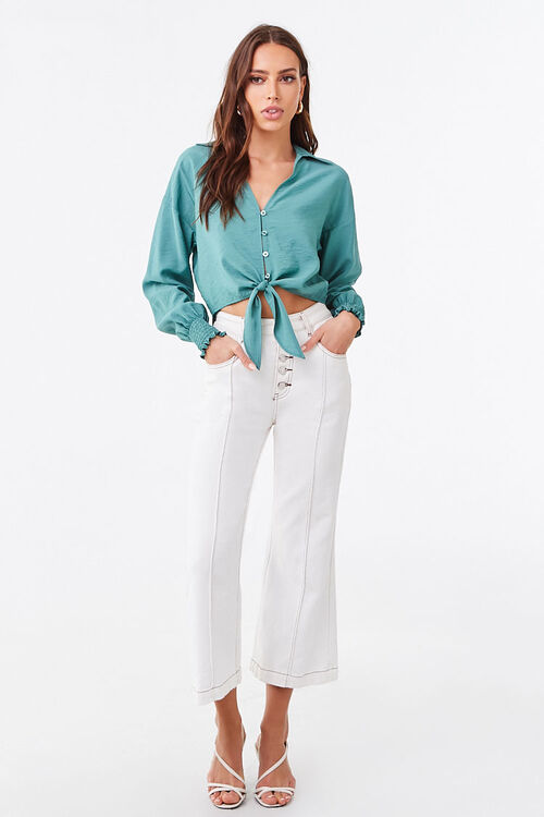 Smocked Self-Tie Buttoned Top, image 4