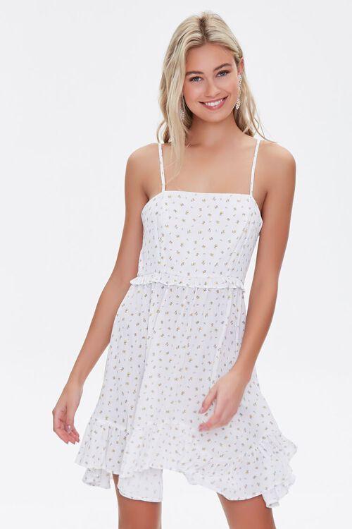Floral Print Lace-Up Mini Dress, image 1