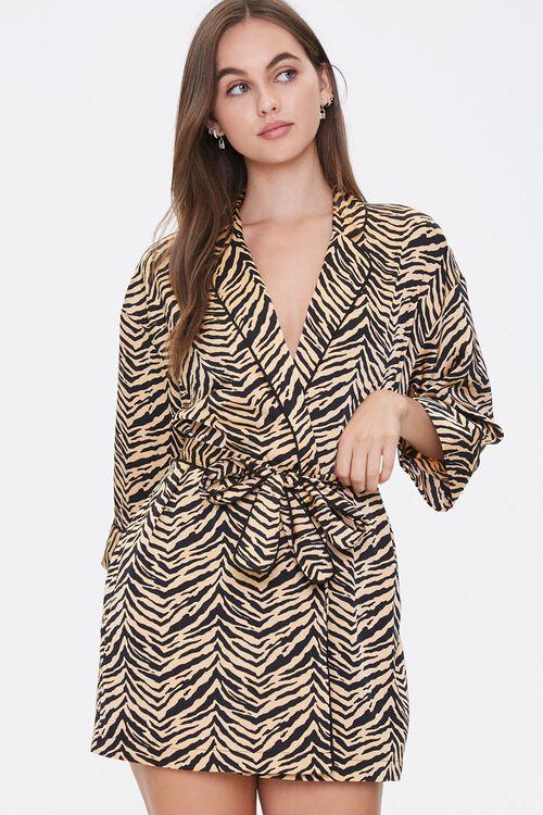 Satin Tiger Stripe Robe, image 1