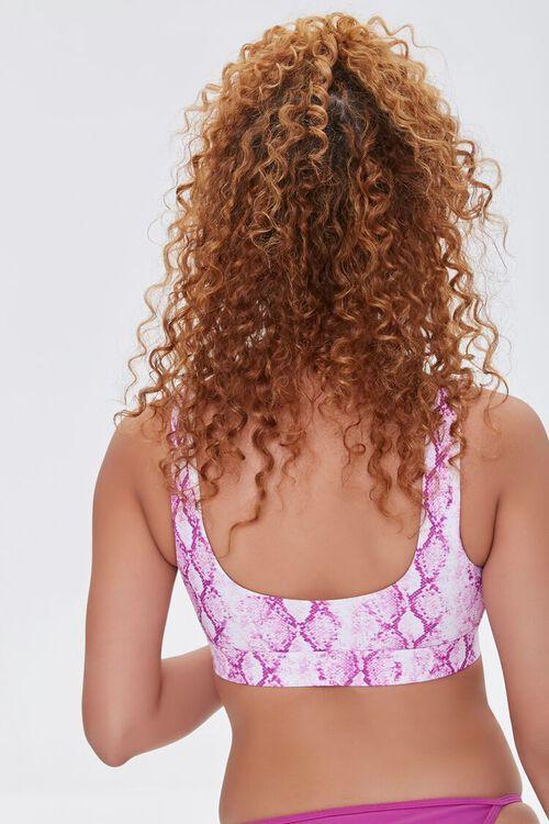 Snakeskin Print Cutout Bralette Bikini Top, image 3