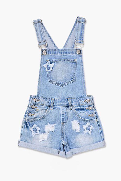 Girls Distressed Denim Overall Shorts (Kids), image 1