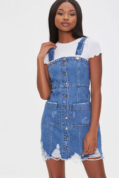 Distressed Denim Overall Dress, image 1