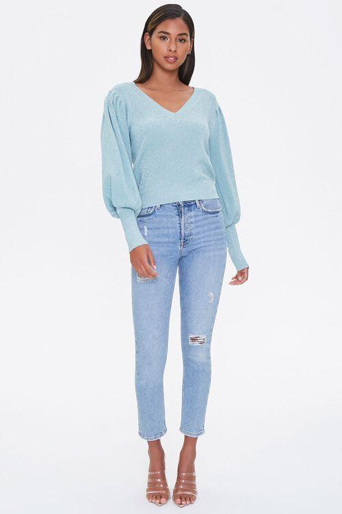 Glitter Knit Balloon-Sleeve Sweater, image 4