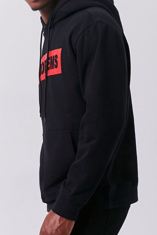 BLACK/RED Problems Graphic Fleece Hoodie, image 2