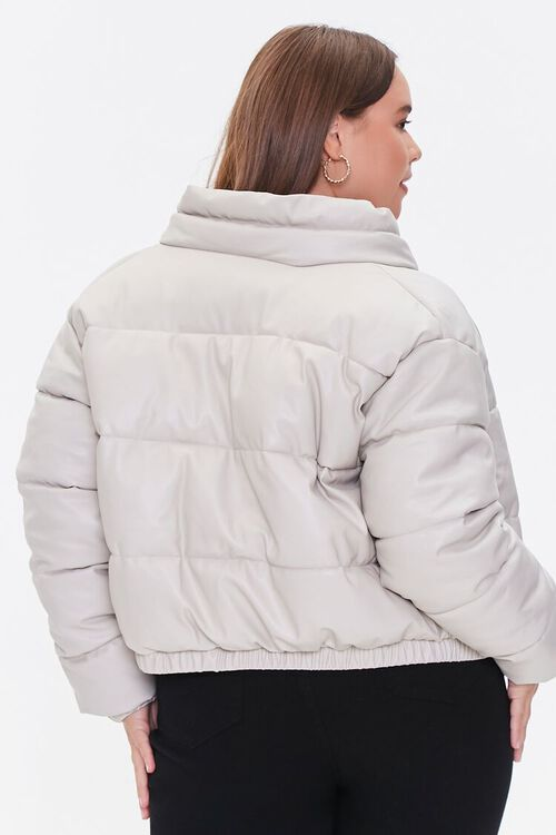 BEIGE Plus Size Faux Leather Puffer Jacket, image 3