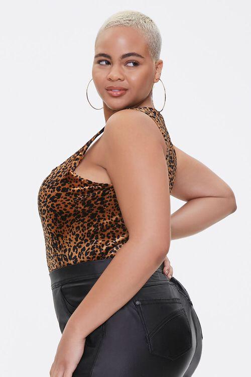 Plus Size Velvet Leopard Bodysuit, image 2