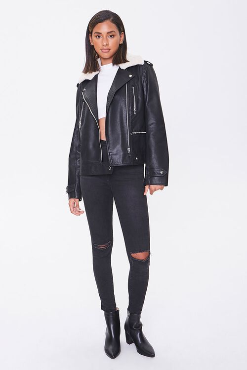 Faux Leather & Shearling Moto Jacket, image 4