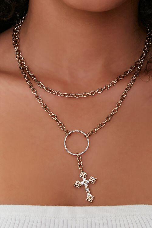 Cross Pendant Layered Choker Necklace, image 1