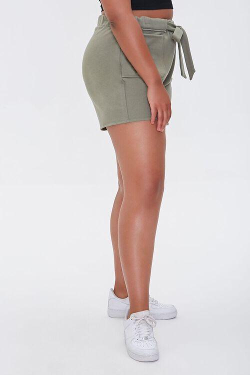 Plus Size Fleece Tie-Waist Shorts, image 3