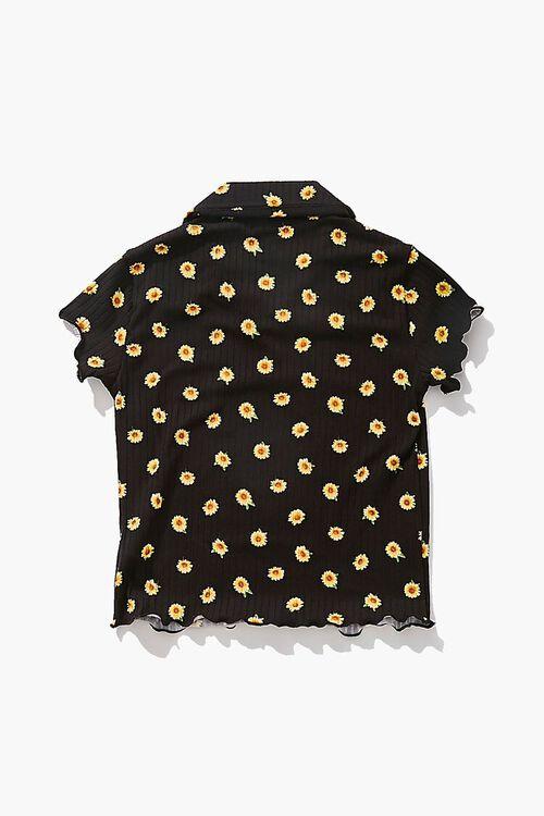 Girls Sunflower Print Collared Top (Kids), image 2