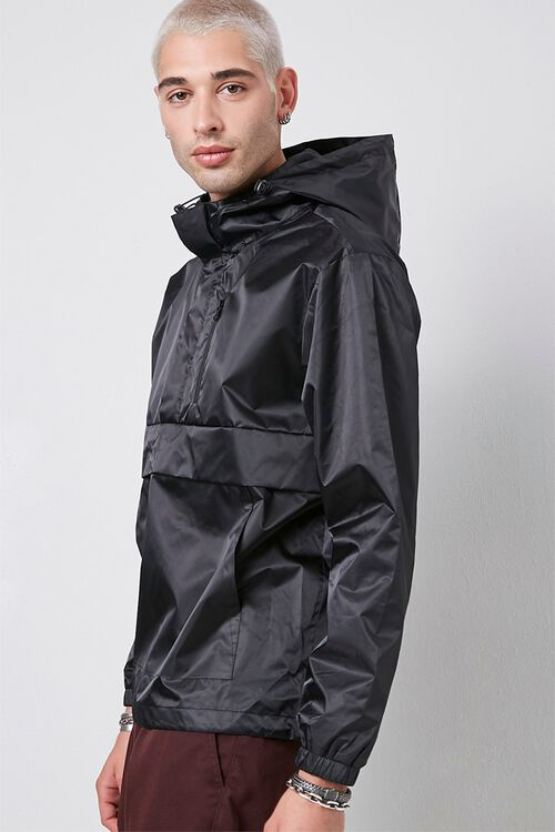 BLACK Hooded Drawstring Anorak, image 2