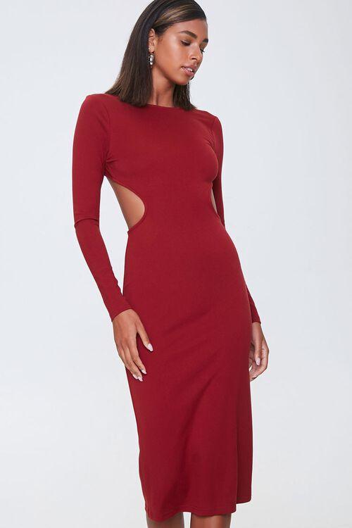 Open-Back Bodycon Midi Dress, image 1