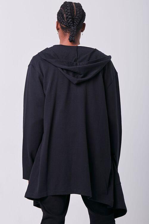 BLACK Longline Hooded Cardigan Sweater, image 3