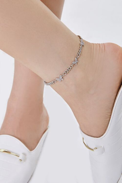 SILVER/CLEAR Rhinestone Butterfly Charm Anklet, image 1