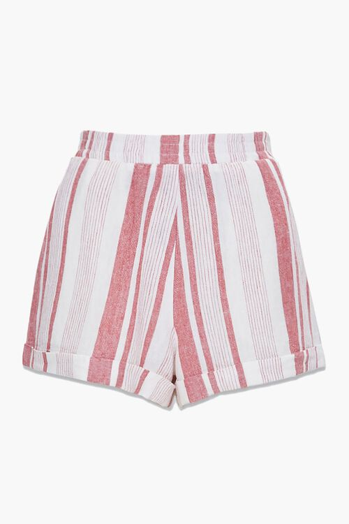 WHITE/RED Striped Linen-Blend Shorts, image 1