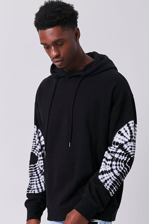 BLACK/WHITE Tie-Dye Drawstring Hoodie, image 1