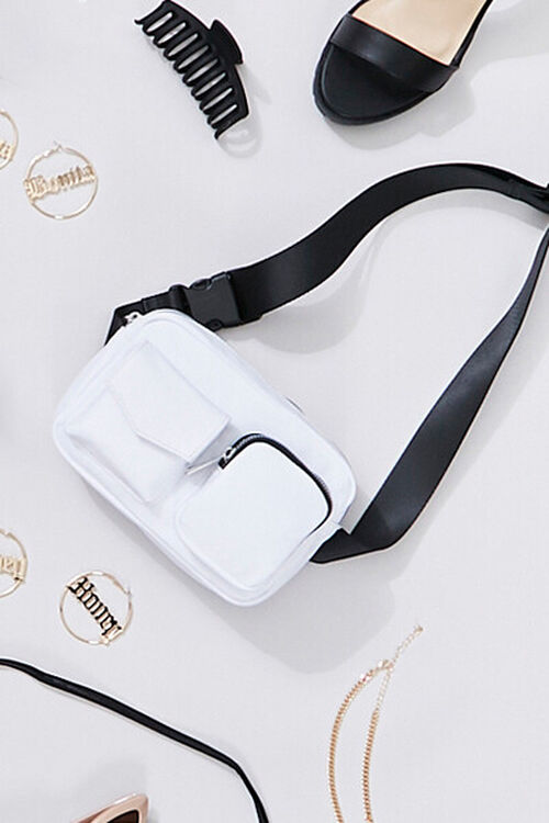 WHITE Nylon Zippered Belt Bag, image 1