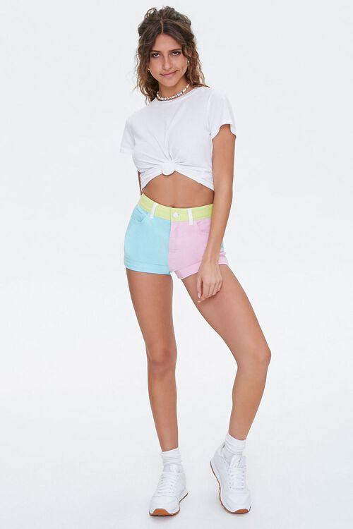 Colorblock Denim Shorts, image 4