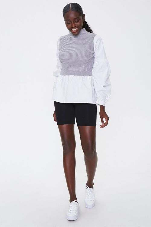 Sweater-Knit Combo Top, image 4