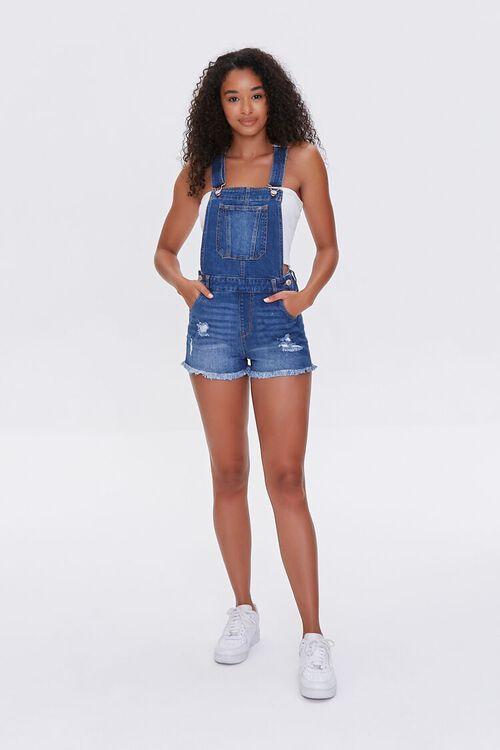 Frayed Denim Overall Shorts, image 4