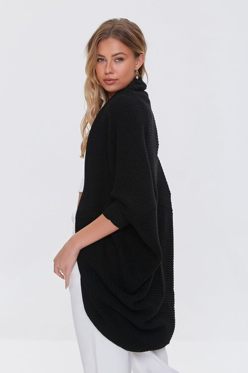 BLACK Ribbed Open-Front Cardigan Sweater, image 2