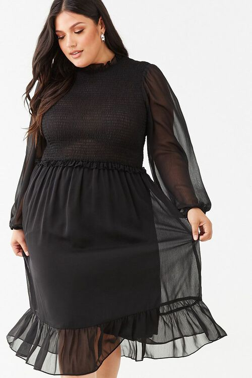Plus Size Ruffle-Trim Dress, image 1