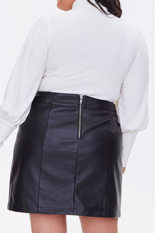 Plus Size Faux Leather Mini Skirt, image 4