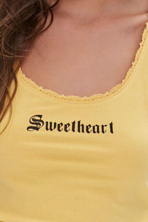 YELLOW/BLACK Sweetheart Lace-Trim Tank Top, image 5