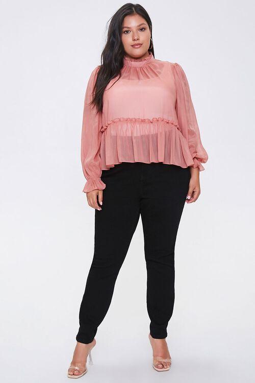 Plus Size Ruffled Peasant Sleeve Top, image 4
