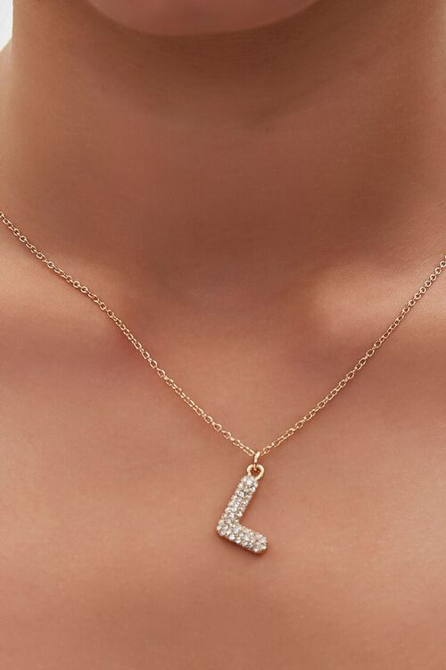 GOLD/L Rhinestone Initial Necklace, image 1