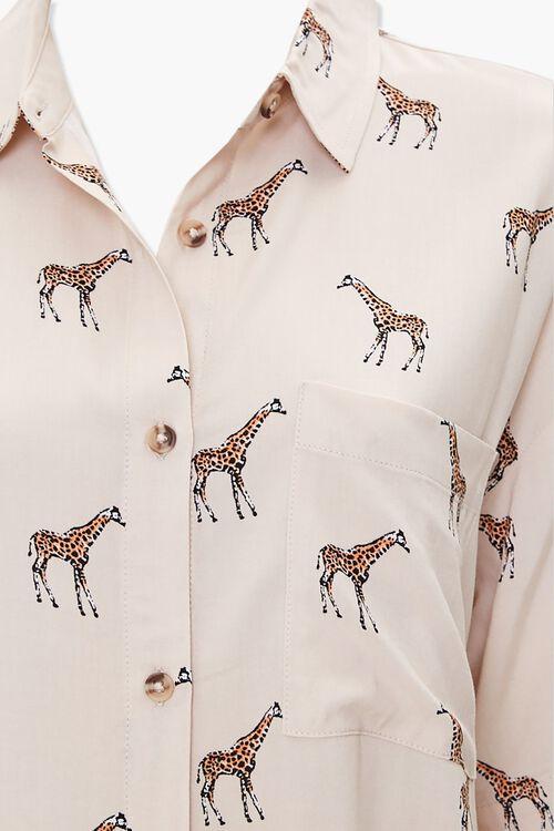 TAUPE/MULTI Giraffe Print Pocket Shirt, image 3