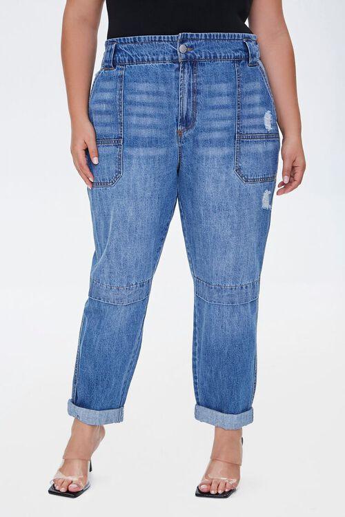 Plus Size Straight-Leg Cuffed Jeans, image 2