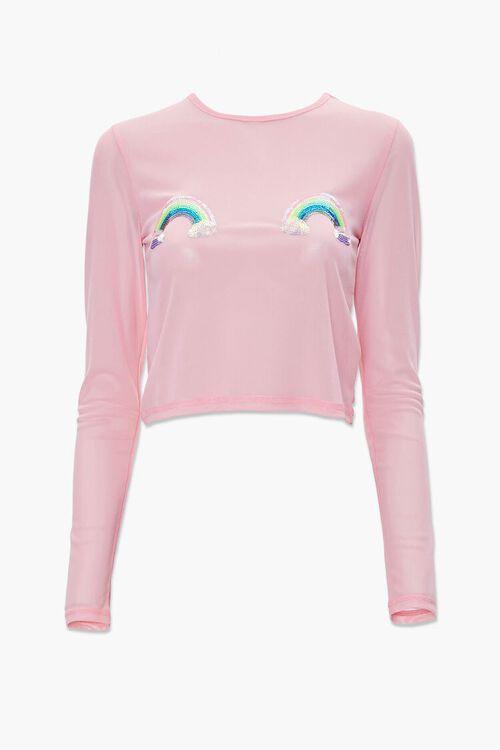 Mesh Rainbow Sequin Top, image 1