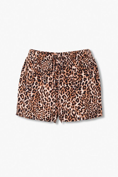 Leopard Print Pajama Shorts, image 1