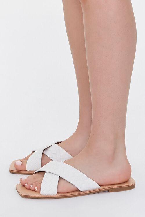 WHITE Crisscross Square-Toe Flat Sandals, image 2