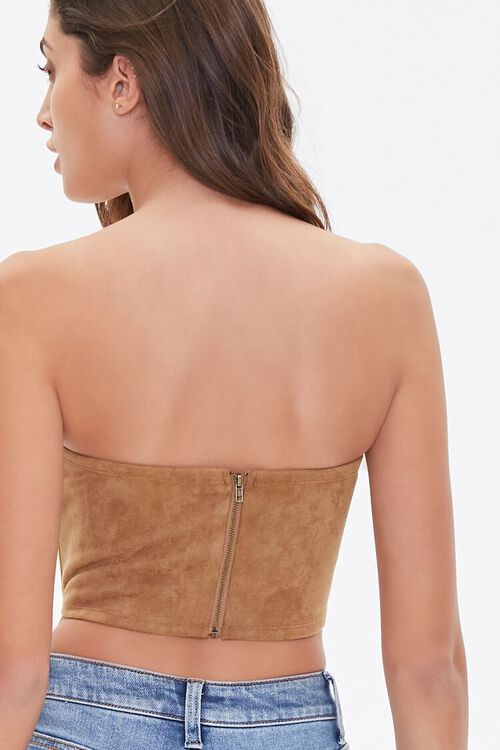 Faux Suede Bustier Tube Top, image 3