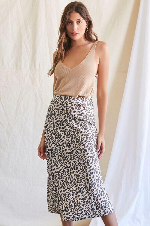 TAN/BLACK Leopard Print Midi Skirt, image 1