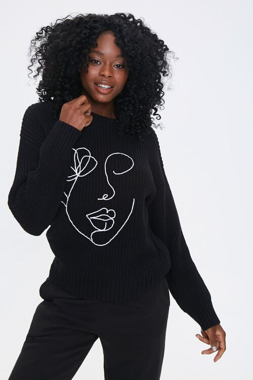 Embroidered Face Sweater, image 1