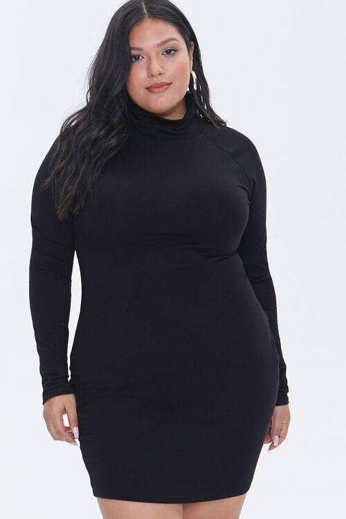 Plus Size Turtleneck Mini Dress, image 1